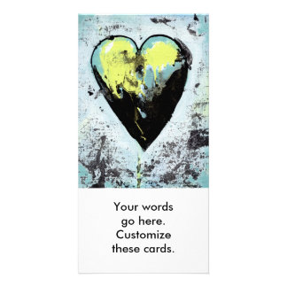 Heart art messy expressive scarred modern painting photo card template