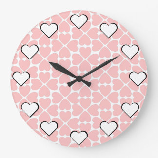 Heart Attack! Pink Four Leaf Clover Hearts Large Clock