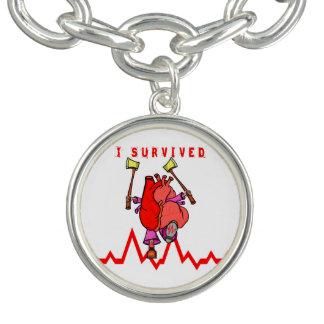 Heart attack survivor Funny Cartoon Charm Bracelet