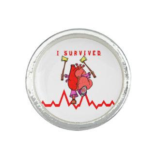 Heart attack survivor Funny Cartoon Rings