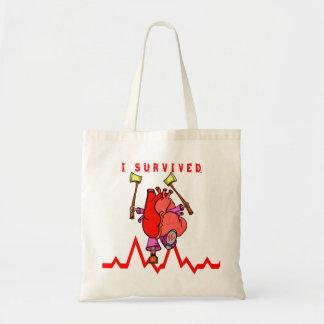 Heart attack survivor Funny Cartoon Tote Bag