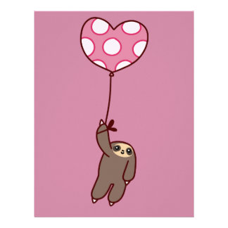 Heart Balloon Sloth Letterhead