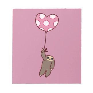 Heart Balloon Sloth Notepad