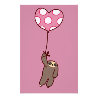 Heart Balloon Sloth Personalized Stationery