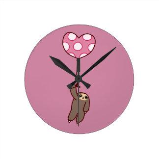 Heart Balloon Sloth Round Clock