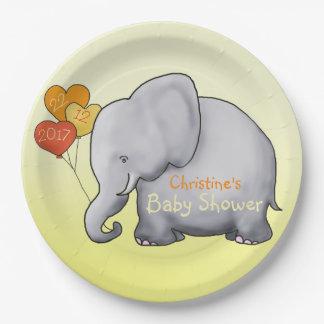 Heart Balloons Elephant Gender-Neutral Baby Shower Paper Plate