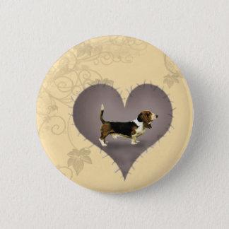 Heart Basset Hound 2 Inch Round Button