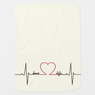 Heart beat with love life inspirational quote baby stroller blanket