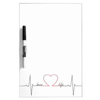 Heart beat with love life inspirational quote Dry-Erase whiteboard