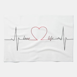 Heart beat with love life inspirational quote kitchen towel