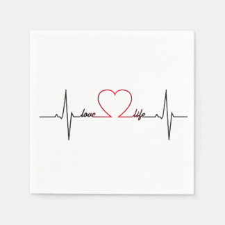 Heart beat with love life inspirational quote paper napkin