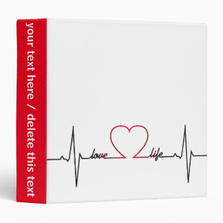 Heart beat with love life inspirational quote vinyl binder