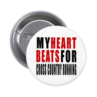 HEART BEATS FOR CROSS COUNTRY RUNNING 2 INCH ROUND BUTTON