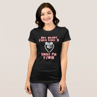 Heart Beats Like V-Twin Engine Lady Black T-Shirt