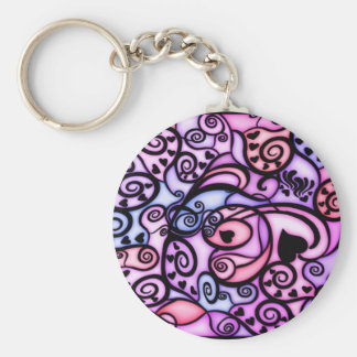 Heart Beats Singing, Stained Glass style Basic Round Button Keychain
