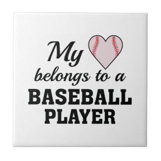 Heart Belongs Baseball Ceramic Tile