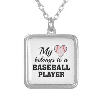 Heart Belongs Baseball Silver Plated Necklace