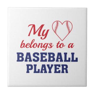 Heart Belongs Baseball Tile