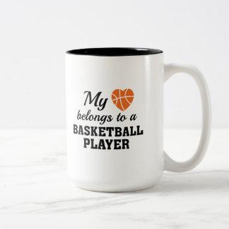 Heart Belongs Basketball Two-Tone Coffee Mug