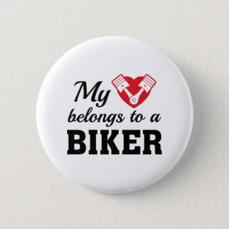 Heart Belongs Biker 2 Inch Round Button