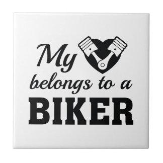 Heart Belongs Biker Ceramic Tile
