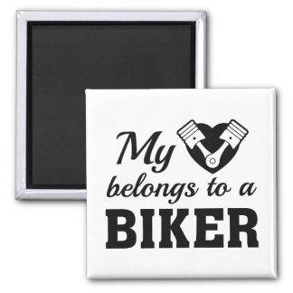 Heart Belongs Biker Magnet