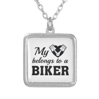 Heart Belongs Biker Silver Plated Necklace