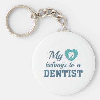 Heart Belongs Dentist Basic Round Button Keychain