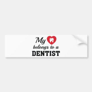 Heart Belongs Dentist Bumper Sticker
