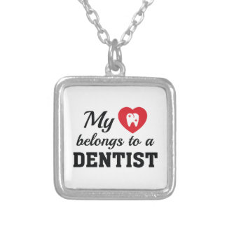Heart Belongs Dentist Silver Plated Necklace