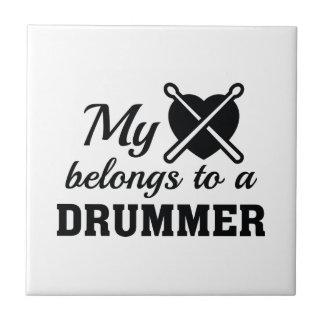 Heart Belongs Drummer Ceramic Tile