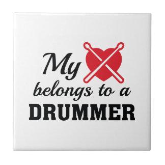 Heart Belongs Drummer Ceramic Tiles