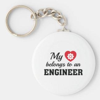 Heart Belongs Engineer Basic Round Button Keychain