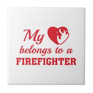 Heart Belongs Firefighter Ceramic Tile