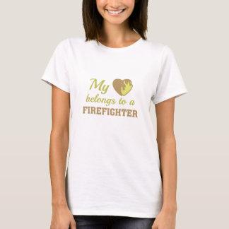 Heart Belongs Firefighter T-Shirt