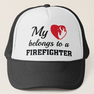 Heart Belongs Firefighter Trucker Hat