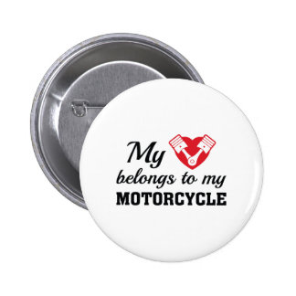 Heart Belongs Motorcycle 2 Inch Round Button