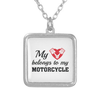 Heart Belongs Motorcycle Silver Plated Necklace
