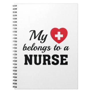 Heart Belongs Nurse Spiral Notebook