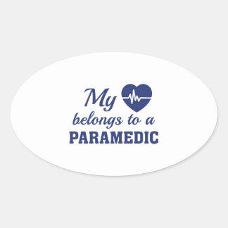 Heart Belongs Paramedic Oval Sticker