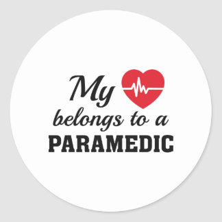 Heart Belongs Paramedic Round Sticker