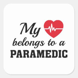 Heart Belongs Paramedic Square Sticker