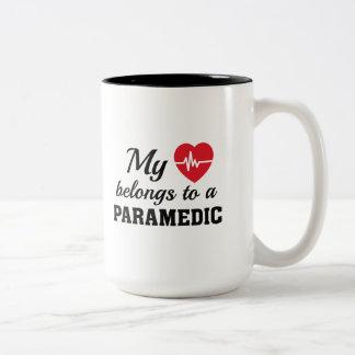 Heart Belongs Paramedic Two-Tone Coffee Mug