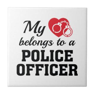 Heart Belongs Police Officer Ceramic Tile