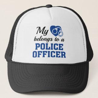 Heart Belongs Police Officer Trucker Hat
