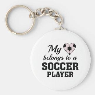 Heart Belongs Soccer Basic Round Button Keychain