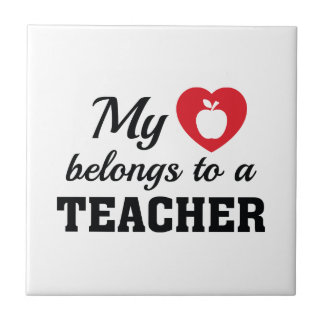 Heart Belongs Teacher Ceramic Tiles
