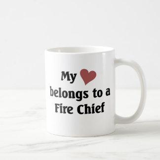 Heart belongs to a fire chief coffee mug