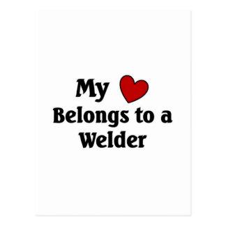Heart belongs to a welder postcard
