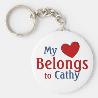 Heart belongs to cathy keychain